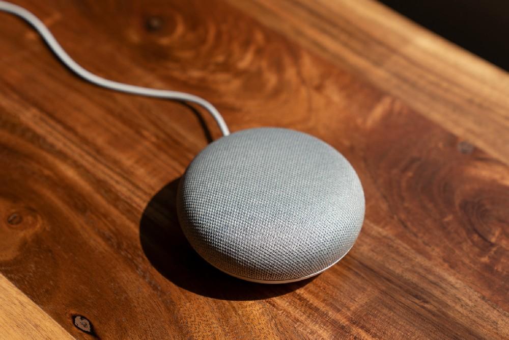 google home mini on table