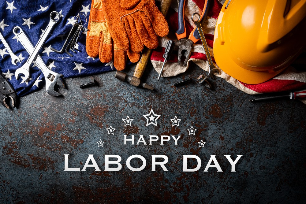 happy labor day tools and hat