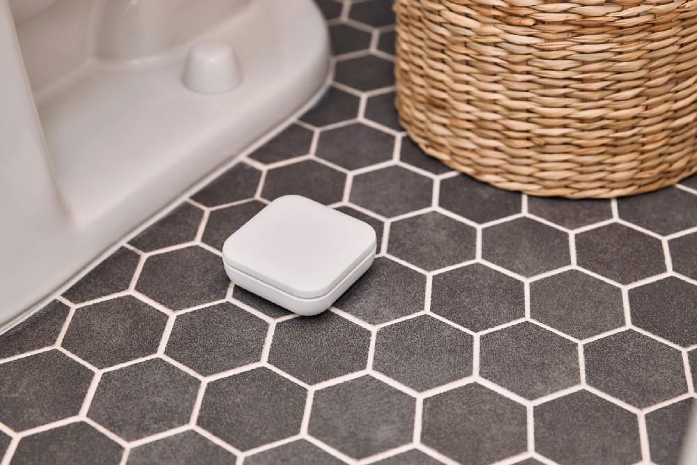water sensor next to toilet on the ground