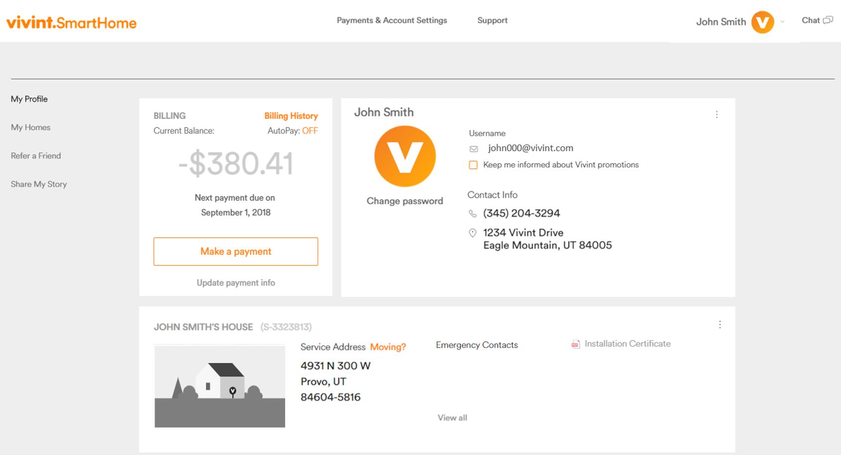 make a payment vivint online support