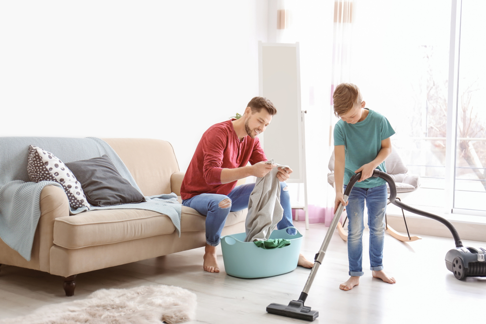 father son cleaning